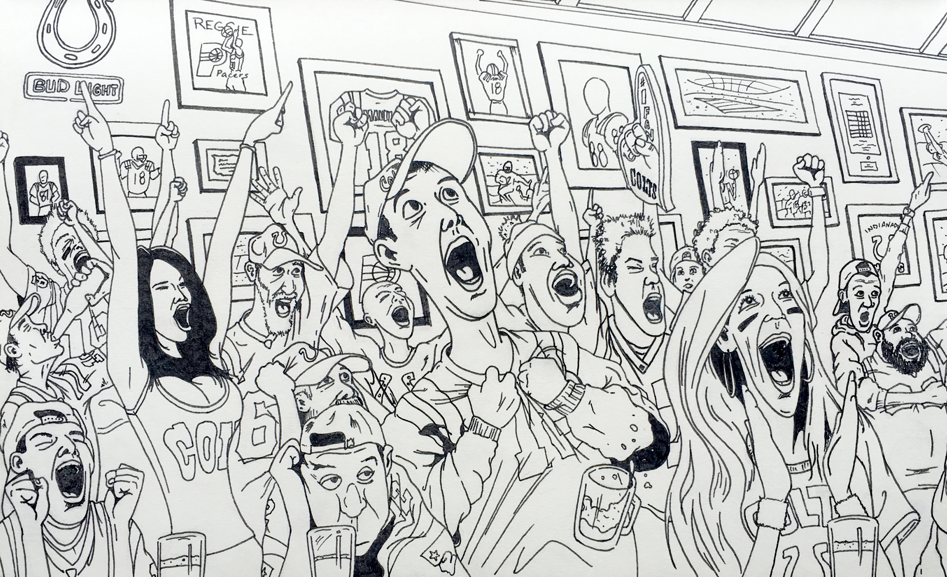 Black & White ink illustration of a crowd in a sports bar