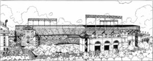 Black & white illustration of Camden Yards