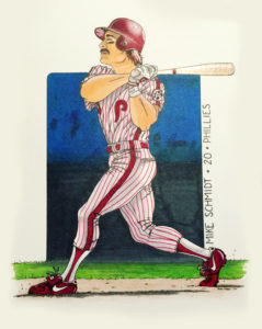 Color illustration of Michael Schmidt swinging