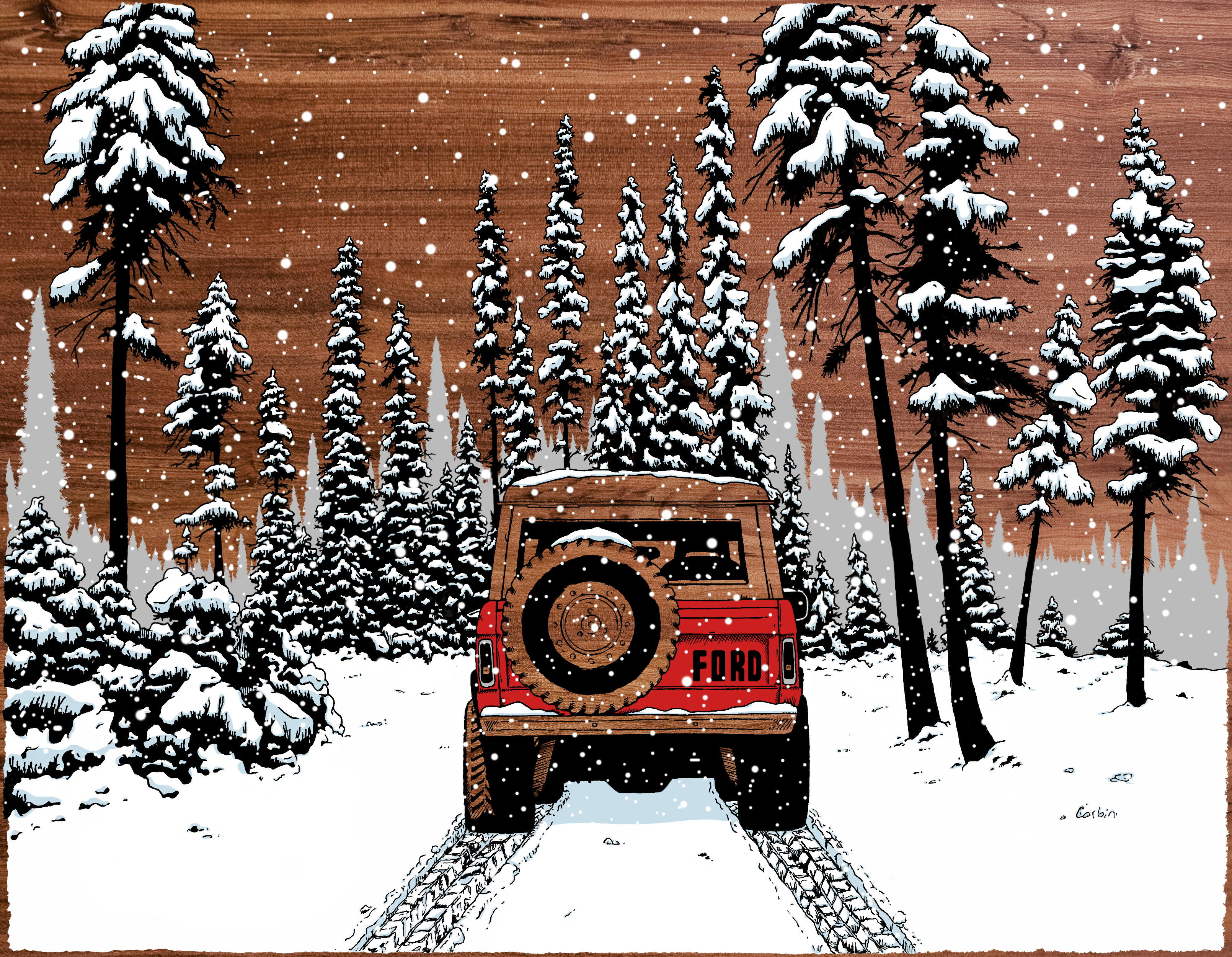 Digital illustration of Ford Bronco drives through a snowy forest