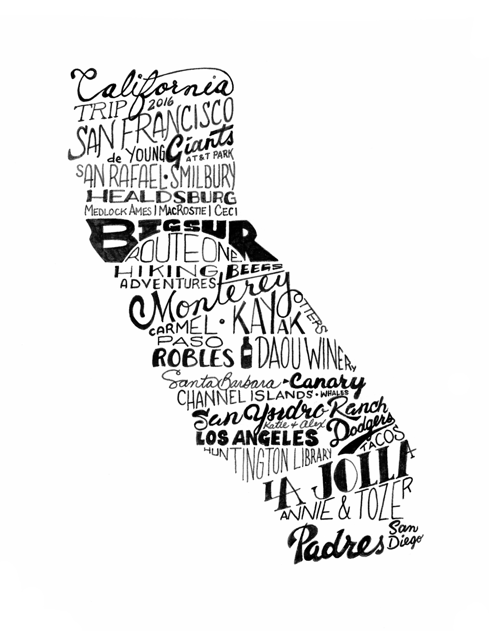 typographic map of california road trip down the PCH