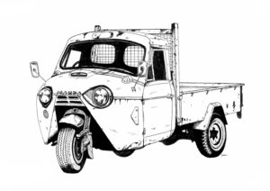 illustration of 3-wheel mazda truck