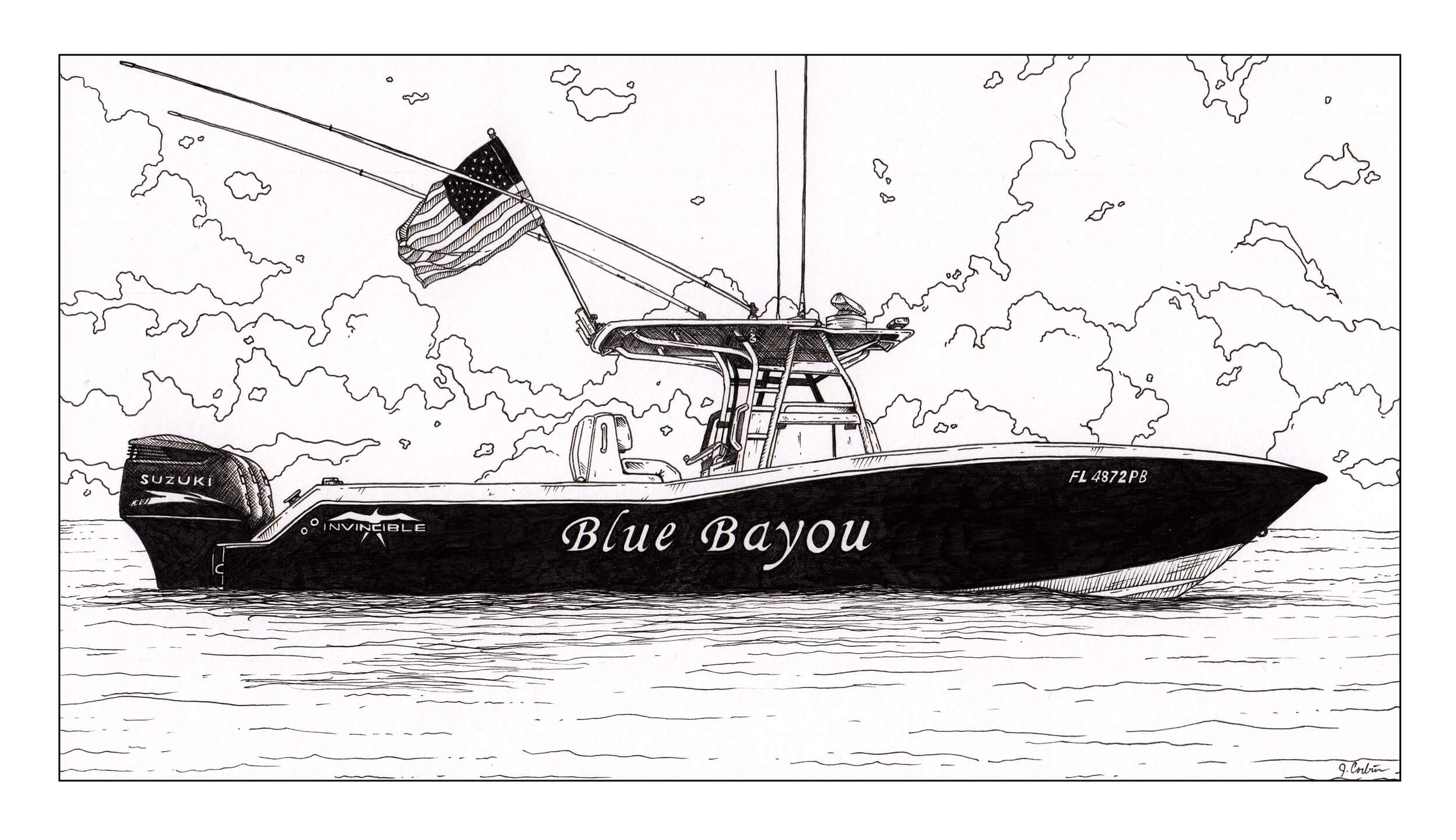 blue bayou boat black and white illustration