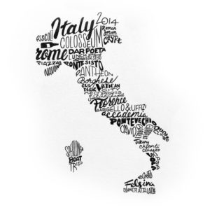 text travel collage from a recent trip to Italy