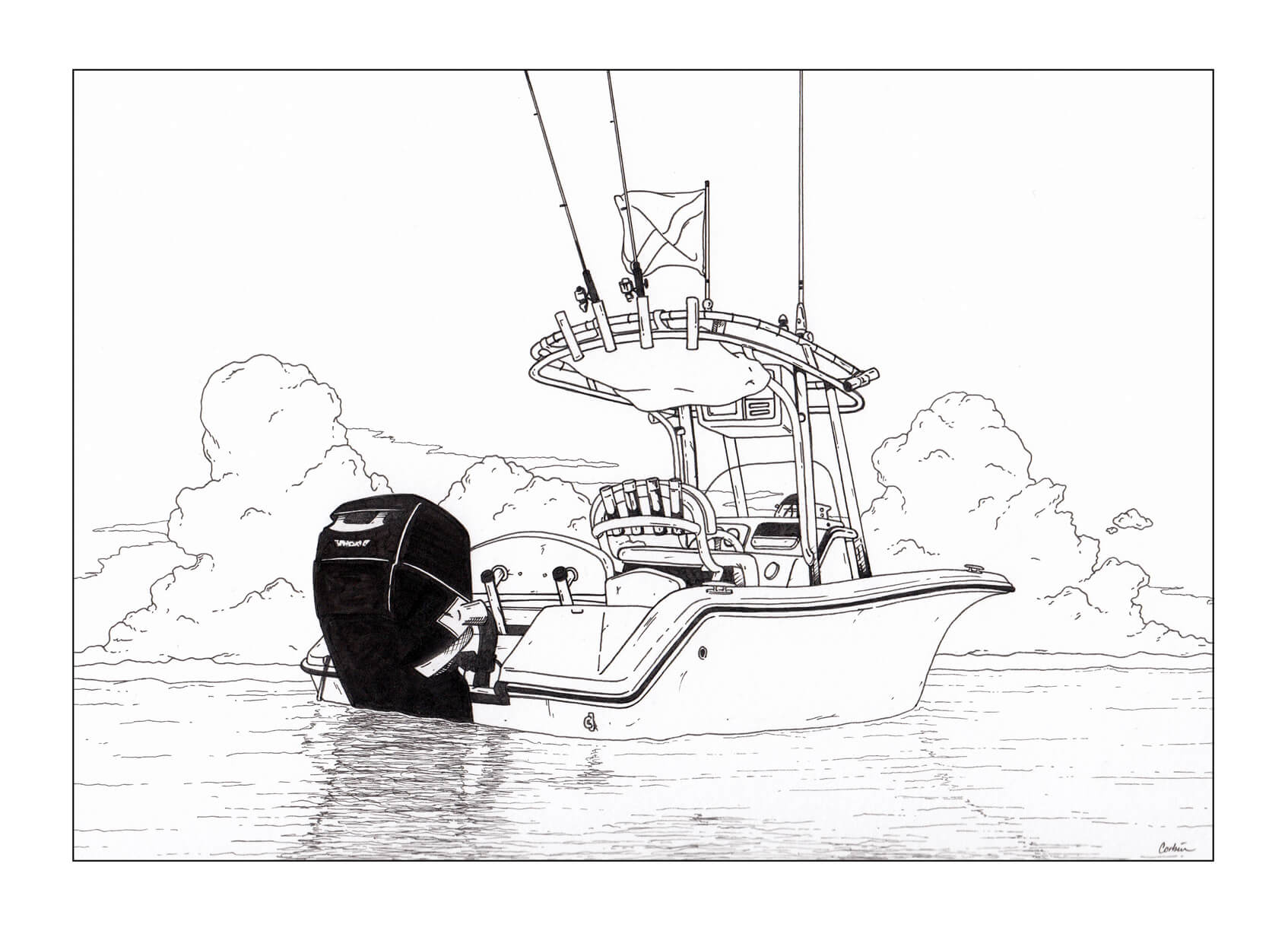 powerboat in water