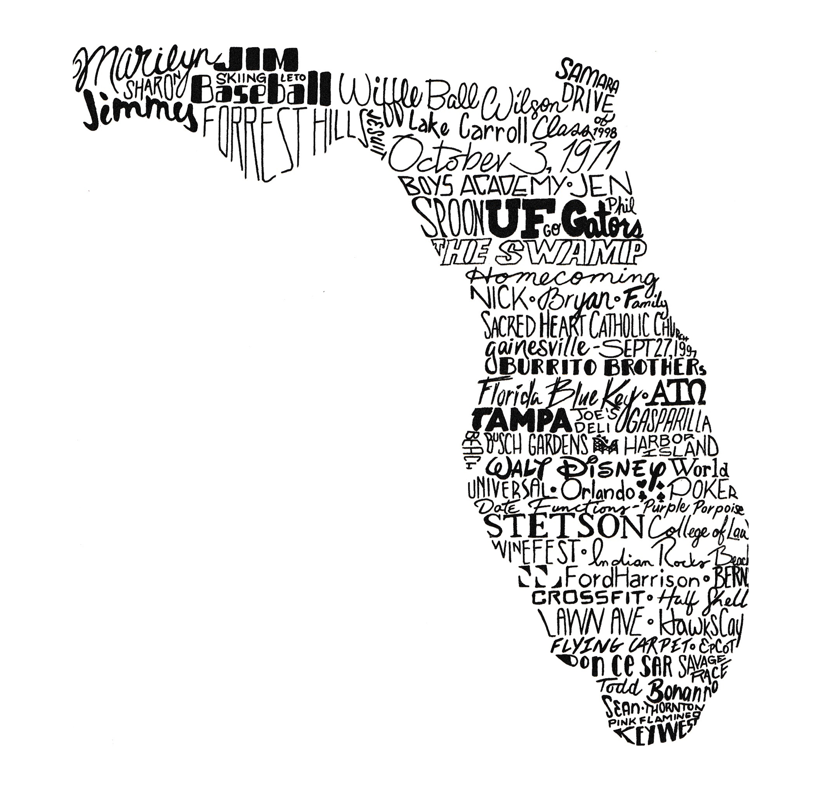 typographic map of family moments in florida