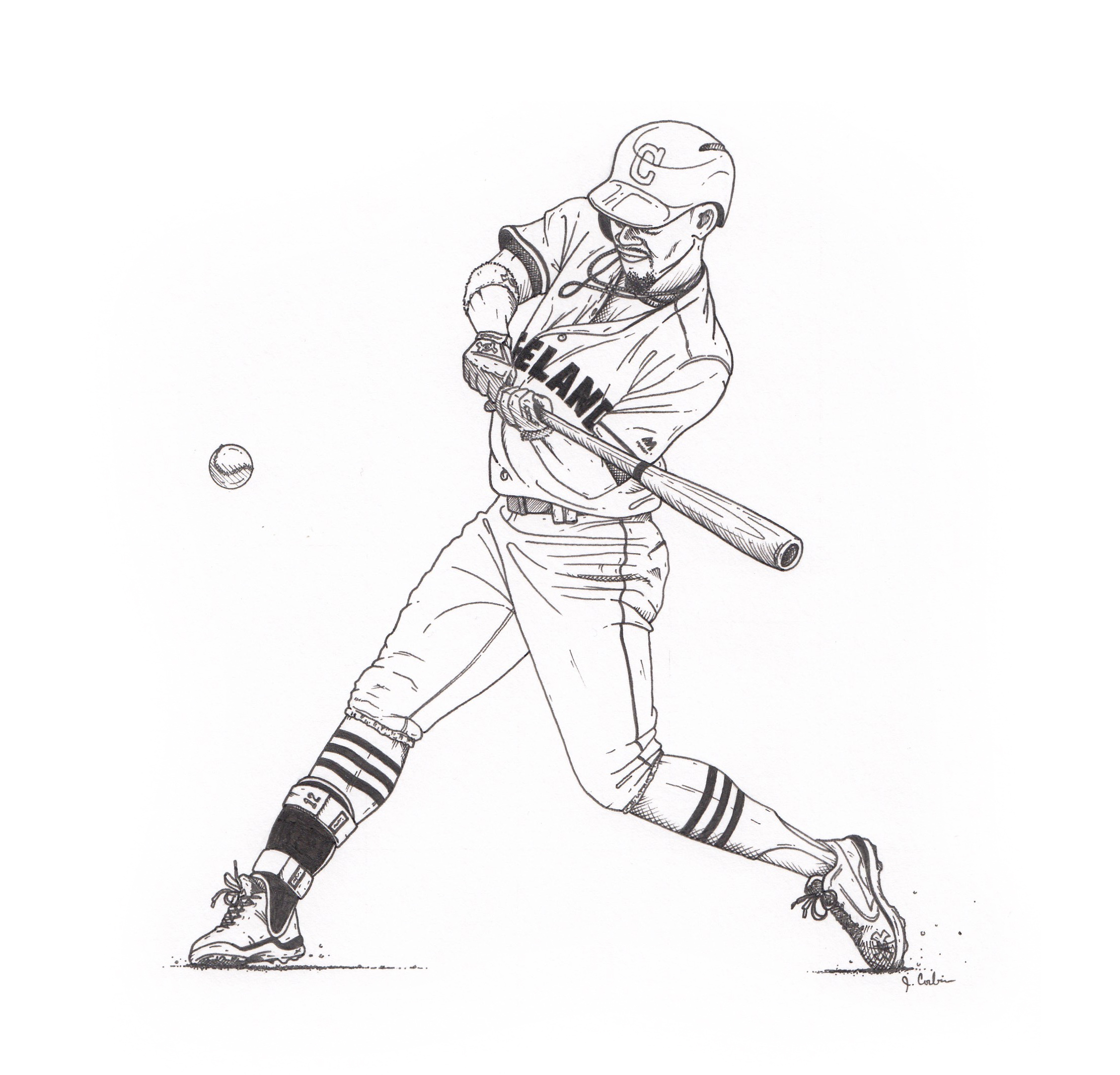 Black & White illustration of Cleveland Indians Shortstop Francisco Lindor