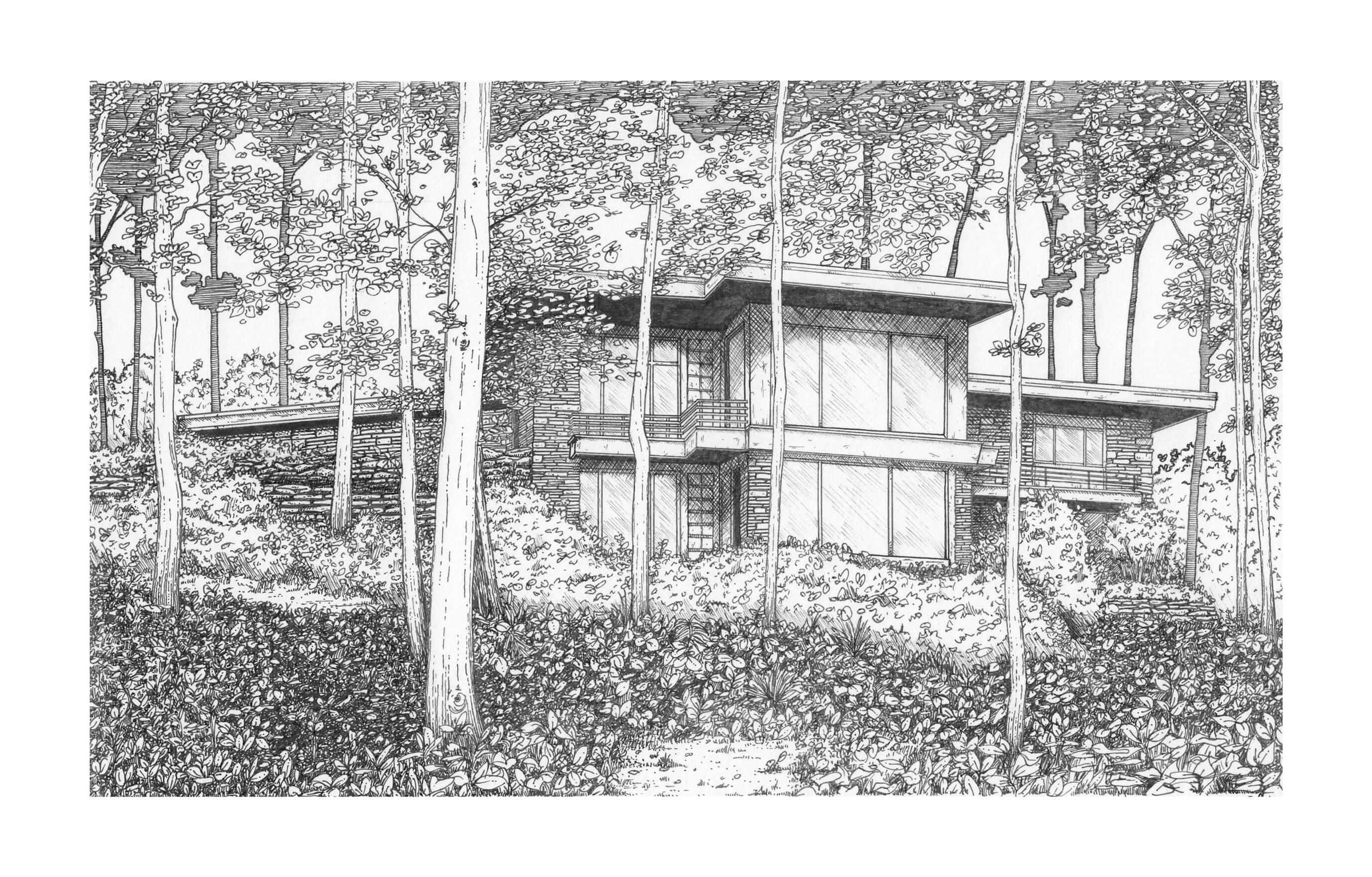 Illustration of the Luers Residence in Indianapolis, Indiana