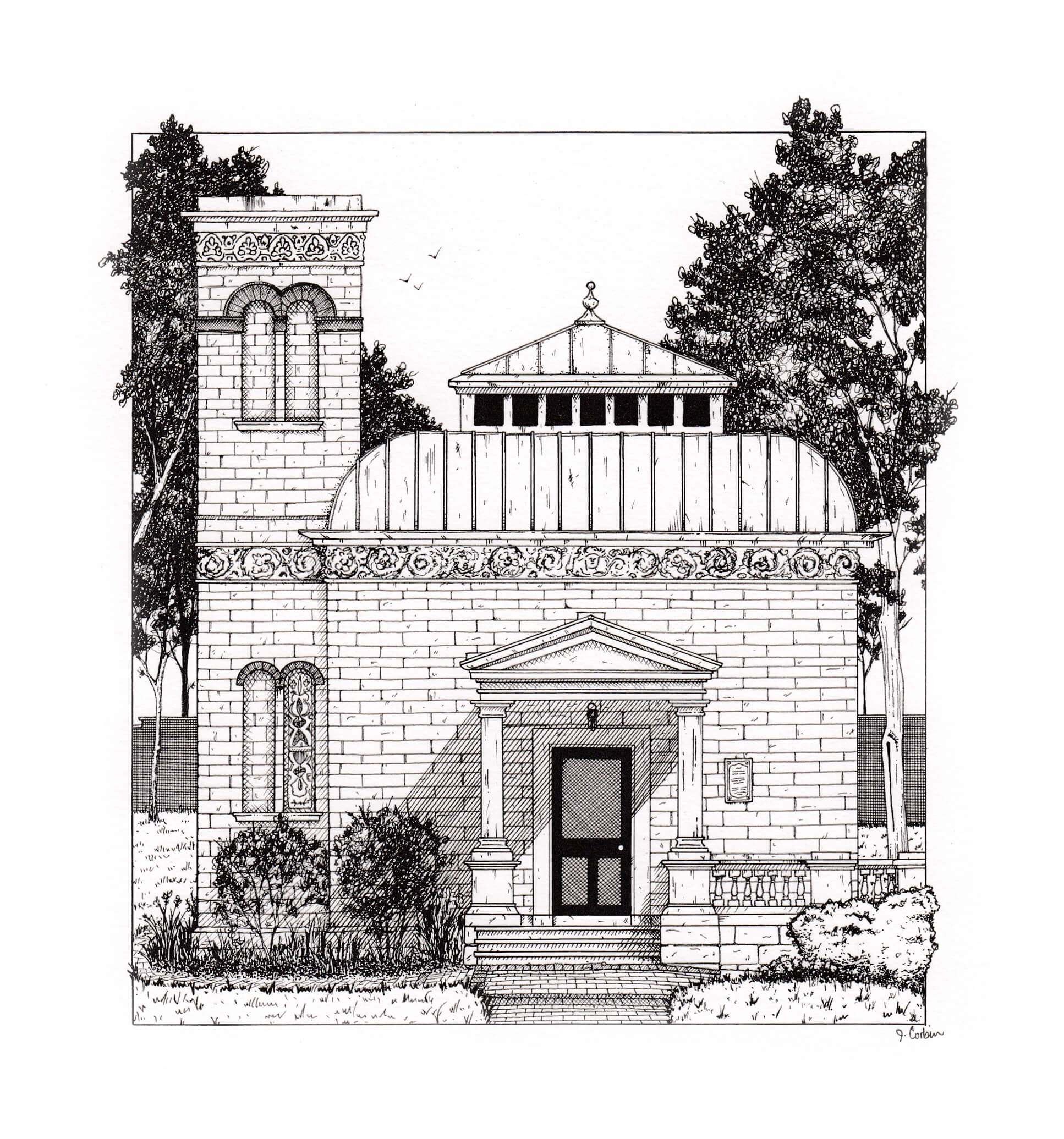 Black & white illustration of the Lew Wallace study in Crawfordsville, IN