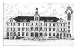 Black & white illustration of alumni hall at Saint Anselm College in Goffstown, New Hampshire