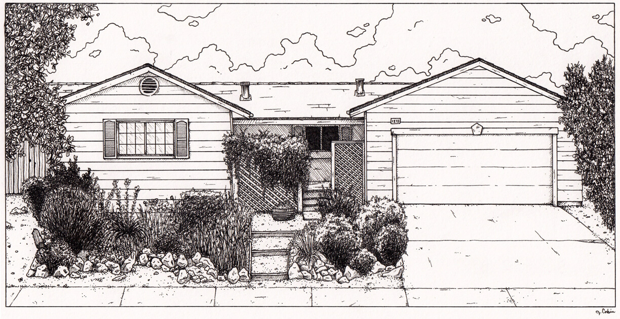 Ink illustration of a family home in Indianapolis, IN