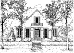 Ink illustration of a family home in Crawfordsville, IN