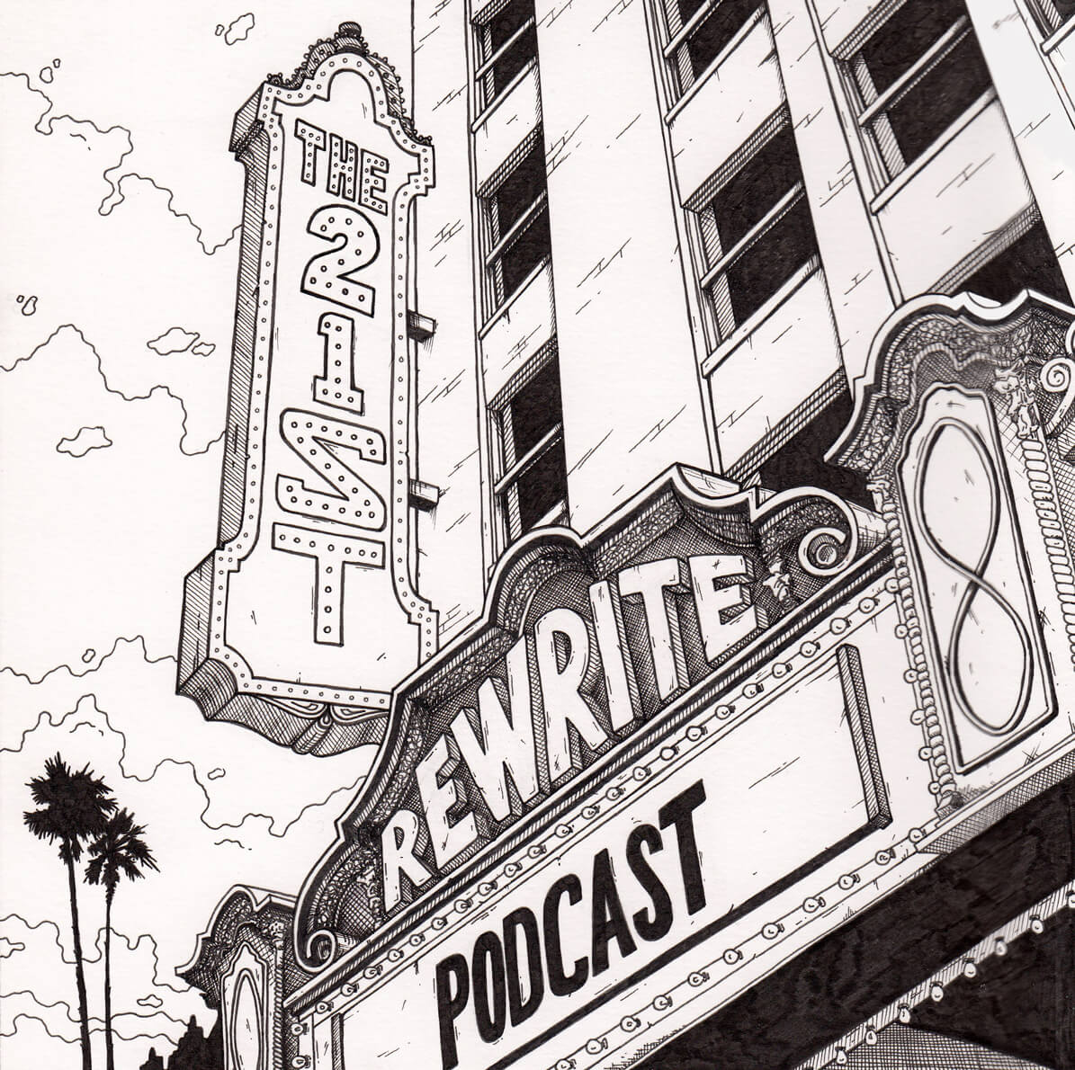 Ink illustration podcast cover for the 21st rewrite