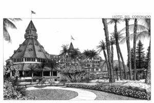 Black and White Ink Drawing of the Hotel del Coronado