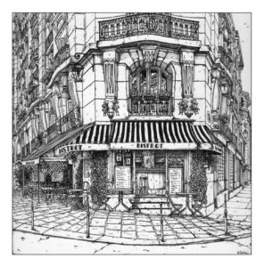 Black and white ink illustration of a French bistrot