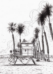 San Diego beach and lifeguard tower