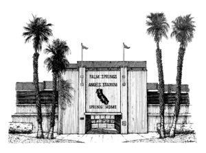 A black and white ink illustration of Angels Stadium in Palm Springs, California