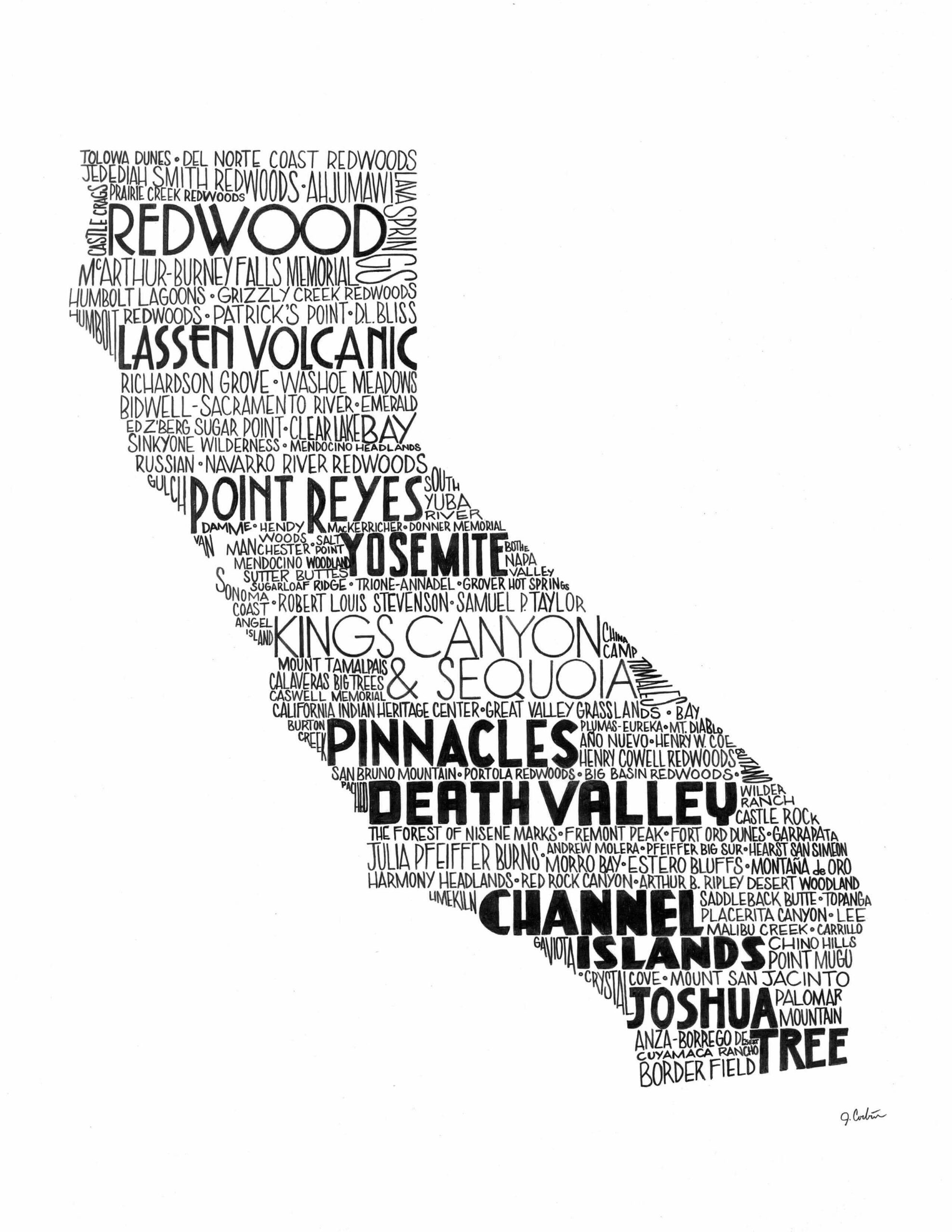 A black and white ink illustration word collage of California National and State Parks