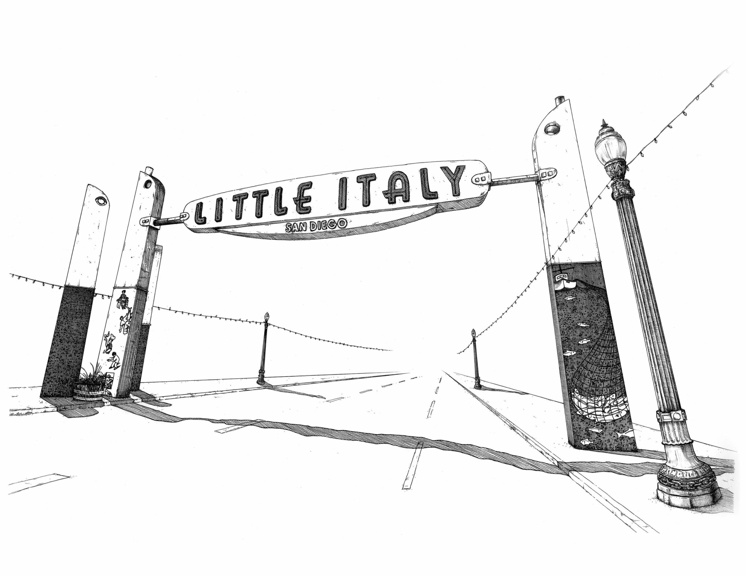 Black and White Illustration of famous Little Italy sign in San Diego, CA