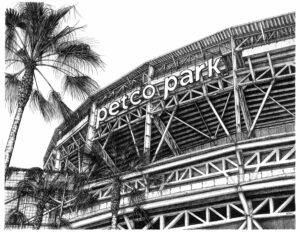 A black and white ink illustration of the Petco Park Exterior