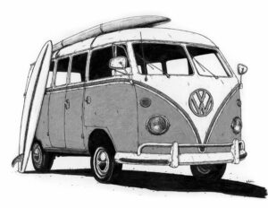 A black and white ink illustration of a VW van with two surfboards resting on it